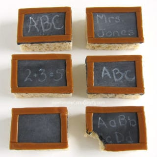 Rice Crispy Treat Chalkboards with white chocolate letters and numbers.